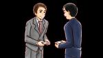 名刺交換するスーツ姿の上司・社会人男性