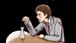 居酒屋で酒を飲み愚痴を垂れるスーツ姿の上司・社会人男性
