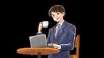 カフェで、パソコンで仕事をするノマドワーカー・スーツ姿の若い社会人男性