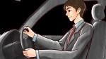 社用車を運転するスーツ姿の上司・社会人男性