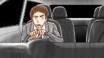 車を運転して渋滞にイライラするスーツ姿の上司・社会人男性
