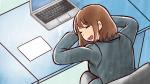 疲れてデスクに突っ伏して仮眠を取るスーツ姿の社会人女性・OL