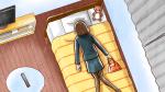 疲れ果ててベッドに倒れこむスーツ姿の若い社会人女性・OL