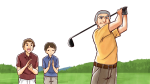 ゴルフでフルスイングする社長と接待する部下たち・社会人男性たち