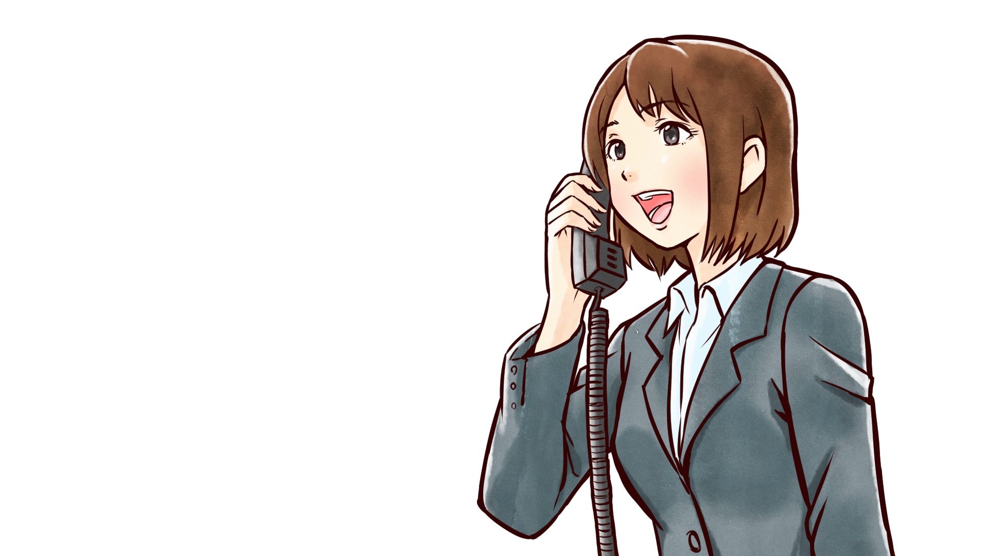 電話に元気に応えるスーツ姿の若い社会人女性・olのフリーイラスト画像