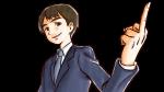 中指を立てて挑発するスーツ姿の若い社会人男性