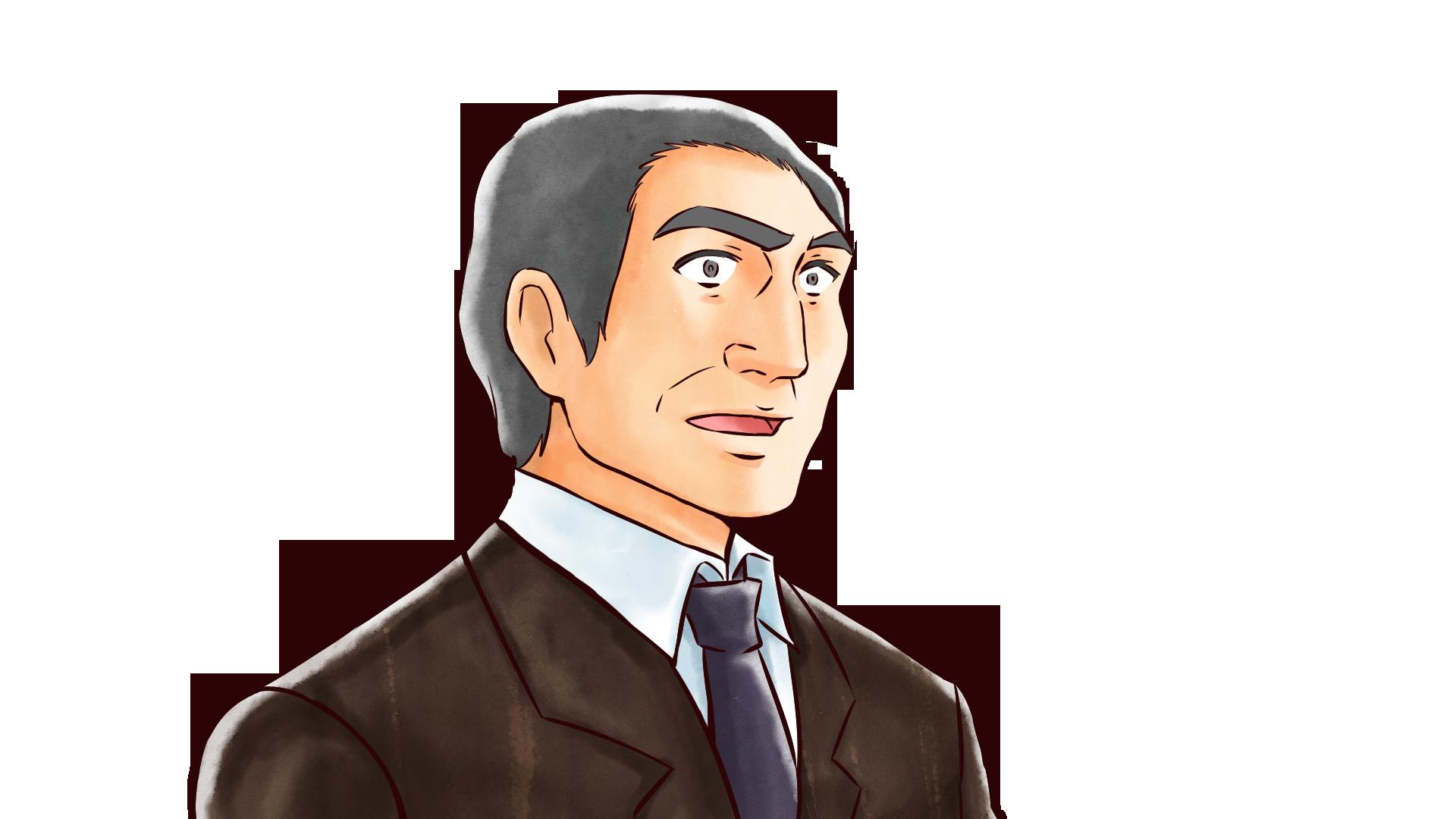驚きの表情をするおじさん・重役・社長のフリーイラスト画像素材【商用