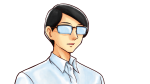 真面目な表情を浮かべるワイシャツ姿のメガネ男性