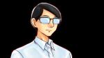 笑顔・喜びの表情を見せるワイシャツ姿のメガネ男性