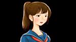 悲しみ・落ち込む表情を見せるポニーテールの女性高校生