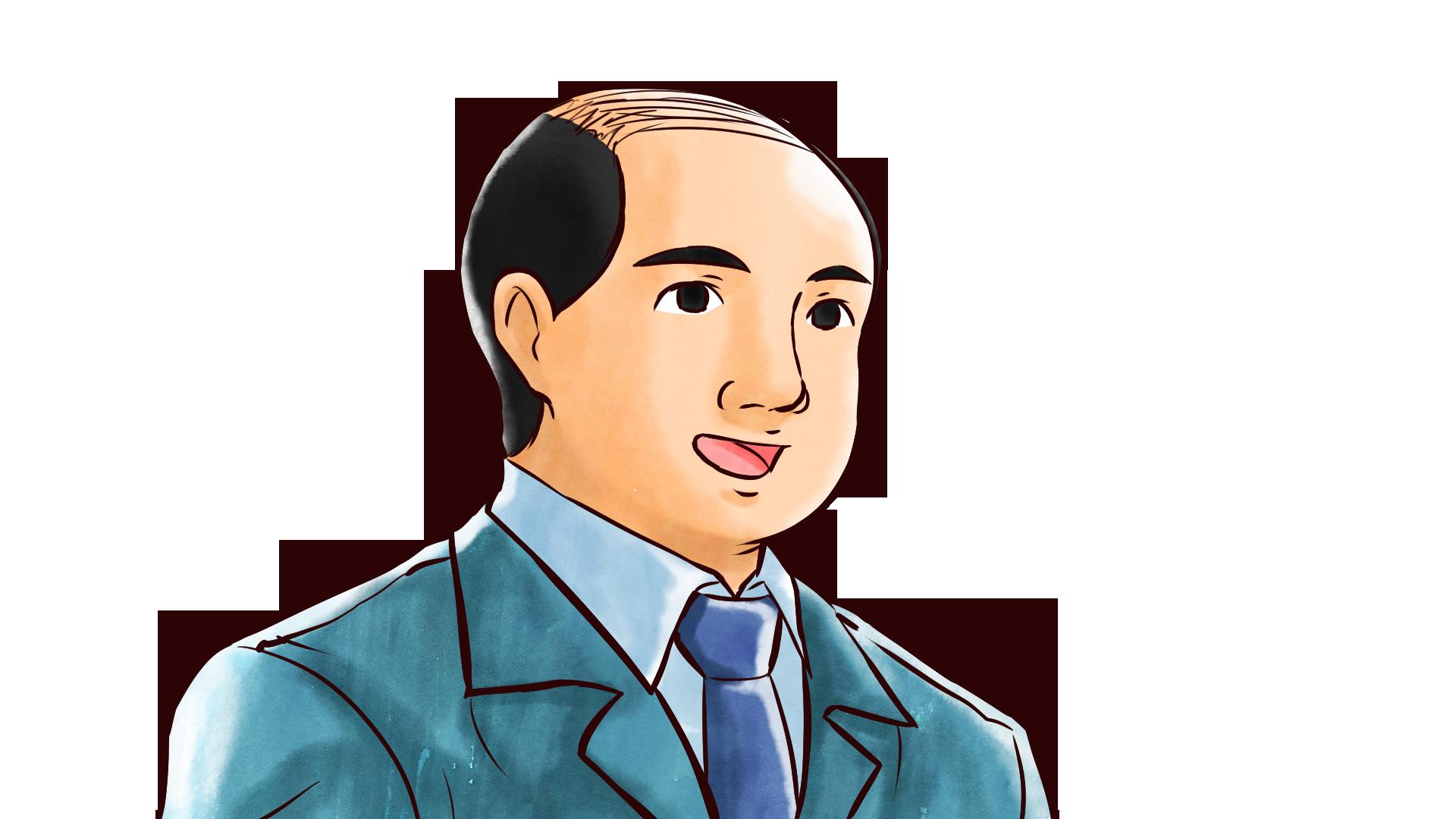 笑顔・喜びの表情を見せるスーツ姿のハゲたおじさんのフリーイラスト画像