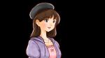 笑顔・喜びの表情を見せるベレー帽の若い女性