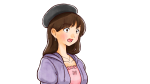 驚きの表情をするベレー帽の若い女性