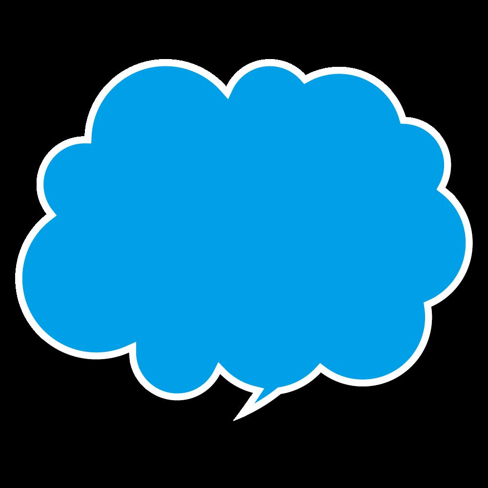 もくもくの青いおしゃれな吹き出しのフリーイラスト画像素材商用無料
